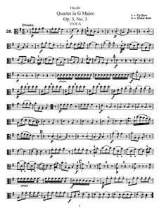 Струнный квартет соль мажор, Hob.III/15 Op.3 No.3: Партия альта by Йозеф Гайдн