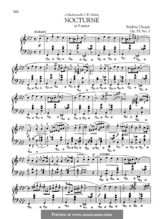 Ноктюрны, Op.55: No.1 in F Minor by Фредерик Шопен