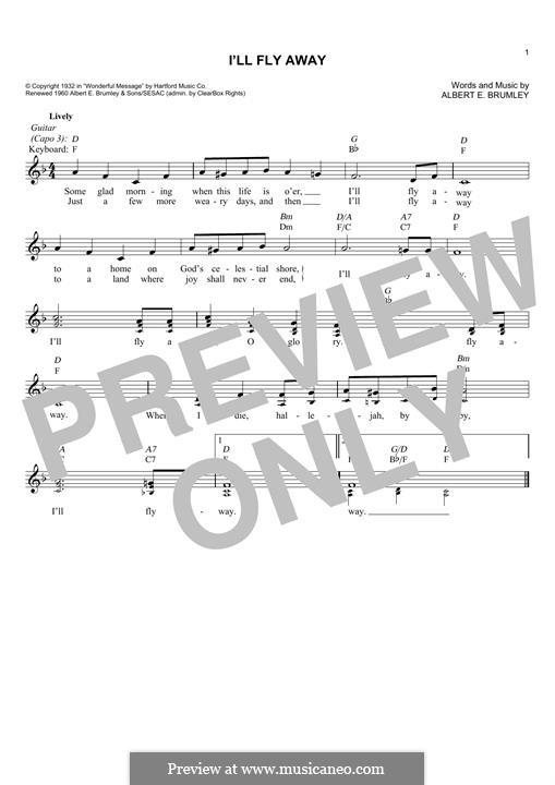I'll Fly Away: Мелодия by Albert E. Brumley