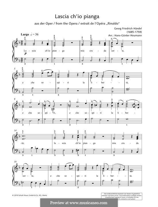 Дайте мне слезы: Для фортепиано by Георг Фридрих Гендель