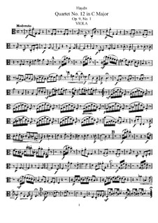 Струнный квартет No.12 до мажор, Hob.III/19 Op.9 No.1: Партия альта by Йозеф Гайдн