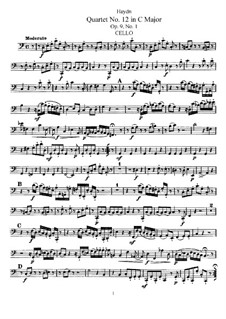 Струнный квартет No.12 до мажор, Hob.III/19 Op.9 No.1: Партия виолончели by Йозеф Гайдн