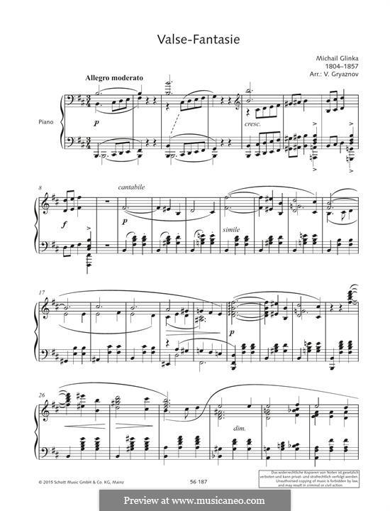 Вальс-фантазия си минор: Для фортепиано by Михаил Глинка