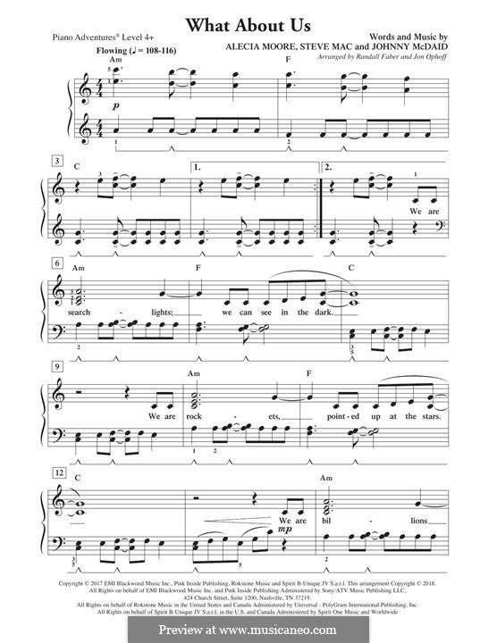 What About Us (Pink): Для фортепиано (легкий уровень) by Alecia Moore, Steve Mac, John McDaid