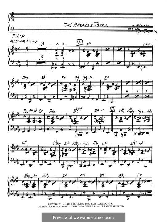 Американский патруль, Op.92: Партия фортепиано by Франк У. Мичхэм