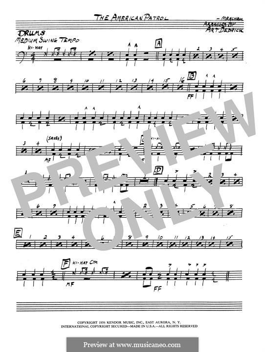 Американский патруль, Op.92: Drum set part by Франк У. Мичхэм