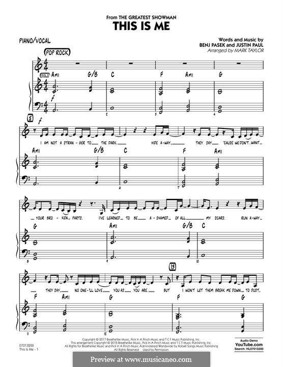 This is Me: Piano/Vocal part by Justin Paul, Benj Pasek