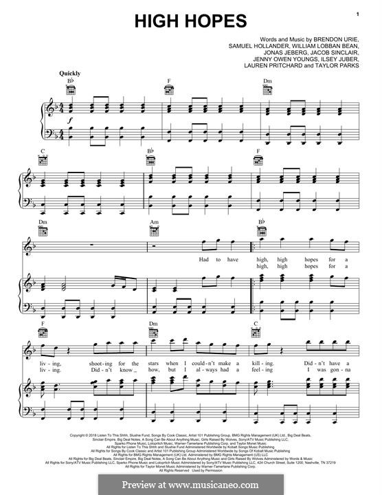 High Hopes (Panic! At The Disco): Для голоса и фортепиано (или гитары) by Brendon Urie, Jonas Jeberg, Sam Hollander, Jacob Sinclair, William Lobban-Bean
