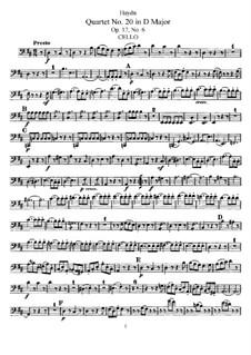 Струнный квартет No.20 ре мажор, Hob.III/30 Op.17 No.6: Партия виолончели by Йозеф Гайдн