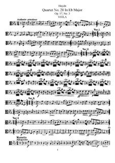 Струнный квартет No.21 ми-бемоль мажор, Hob.III/27 Op.17 No.3: Партия альта by Йозеф Гайдн