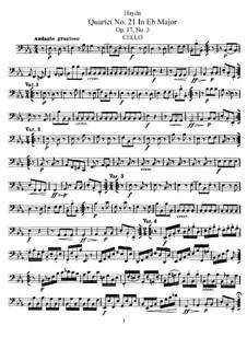 Струнный квартет No.21 ми-бемоль мажор, Hob.III/27 Op.17 No.3: Партия виолончели by Йозеф Гайдн