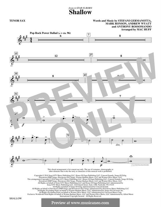 Shallow (from A Star is Born): Tenor saxophone part by Andrew Wyatt, Anthony Rossomando, Mark Ronson, Stefani Germanotta
