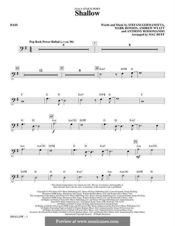 Shallow (from A Star is Born): Партия баса by Andrew Wyatt, Anthony Rossomando, Mark Ronson, Stefani Germanotta