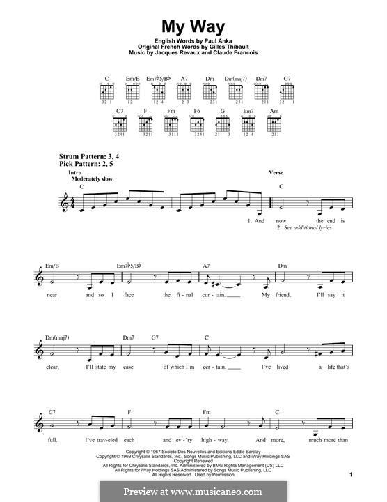 My Way: Гитарная табулатура by Claude Francois, Jacques Revaux