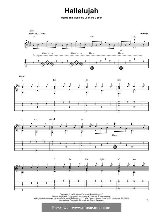 Hallelujah: Гитарная табулатура by Leonard Cohen