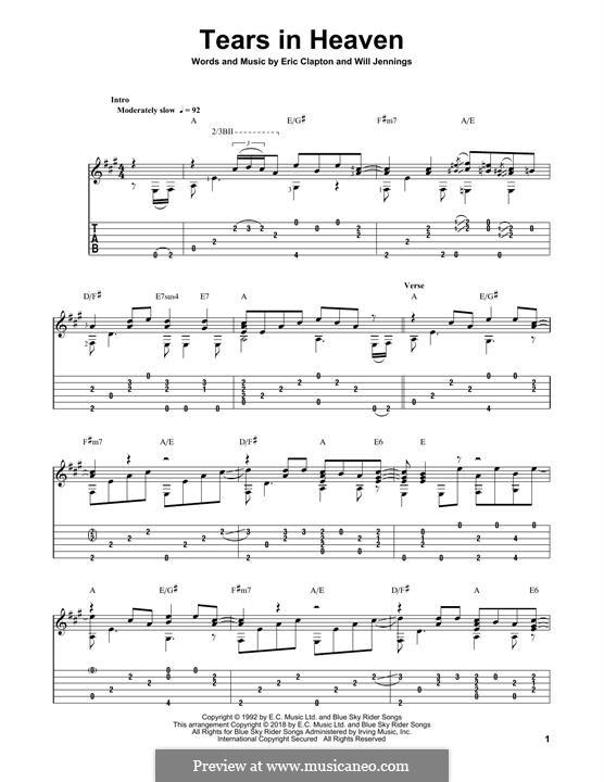 Tears in Heaven: Гитарная табулатура by Eric Clapton, Will Jennings