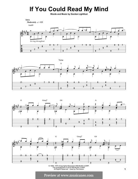 If You Could Read My Mind: Гитарная табулатура by Gordon Lightfoot