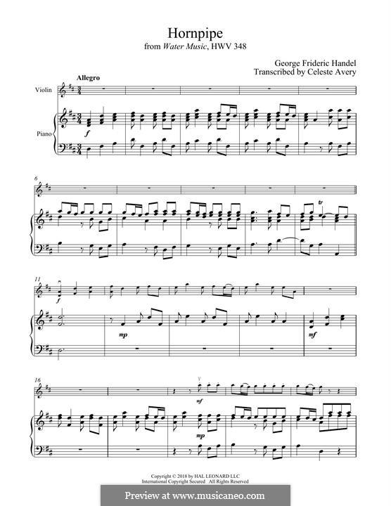 Сюита No.2 ре мажор, HWV 349: Alla Hornpipe, for violin and piano by Георг Фридрих Гендель