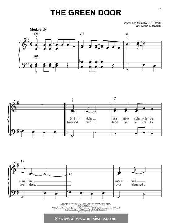 The Green Door (Jim Lowe): Для фортепиано by Bob Davie, Marvin Moore