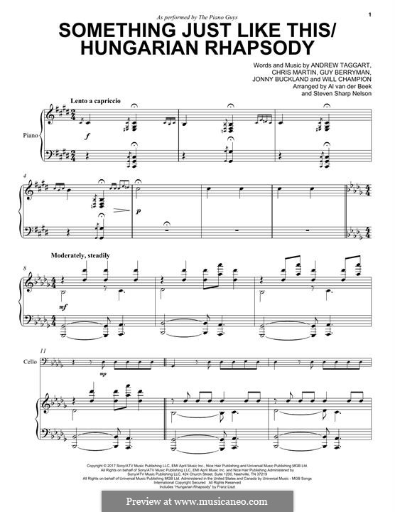 Something Just Like This / Hungarian Rhapsody (The Piano Guys): Для виолончели и фортепиано by Chris Martin, Guy Berryman, Jonny Buckland, Will Champion, Andrew Taggart
