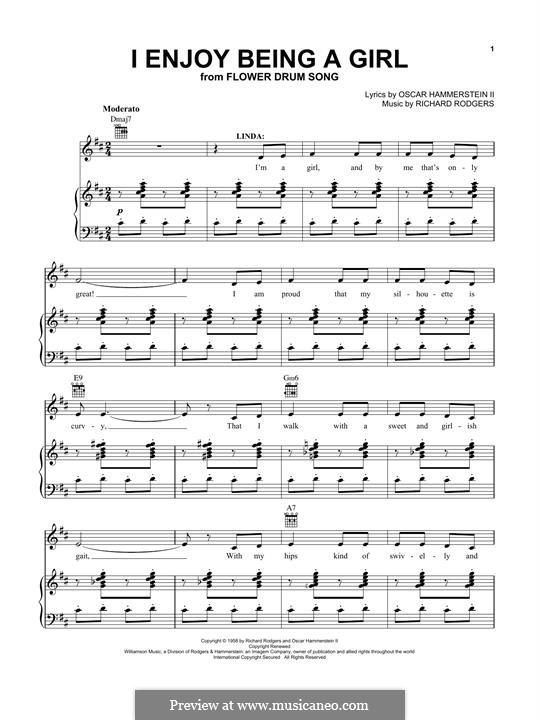 I Enjoy Being a Girl (from Flower Drum Song): Для голоса и фортепиано (или гитары) by Richard Rodgers