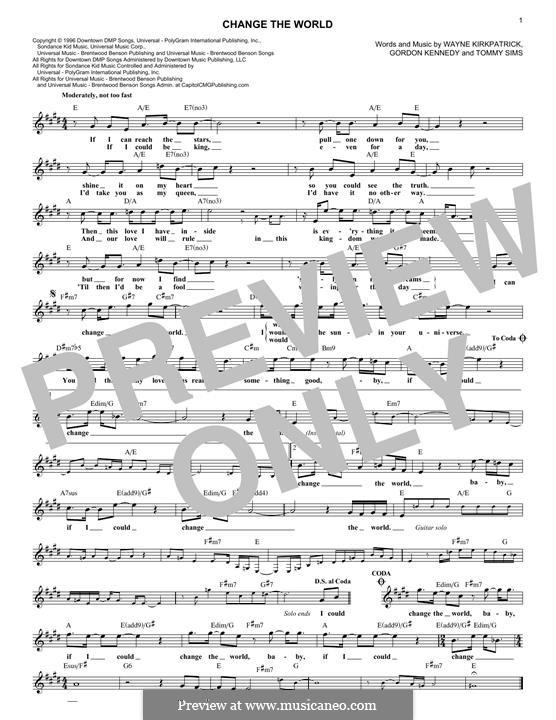 Change the World (Eric Clapton and Wynonna): Мелодия by Gordon Kennedy, Tommy Sims, Wayne Kirkpatrick