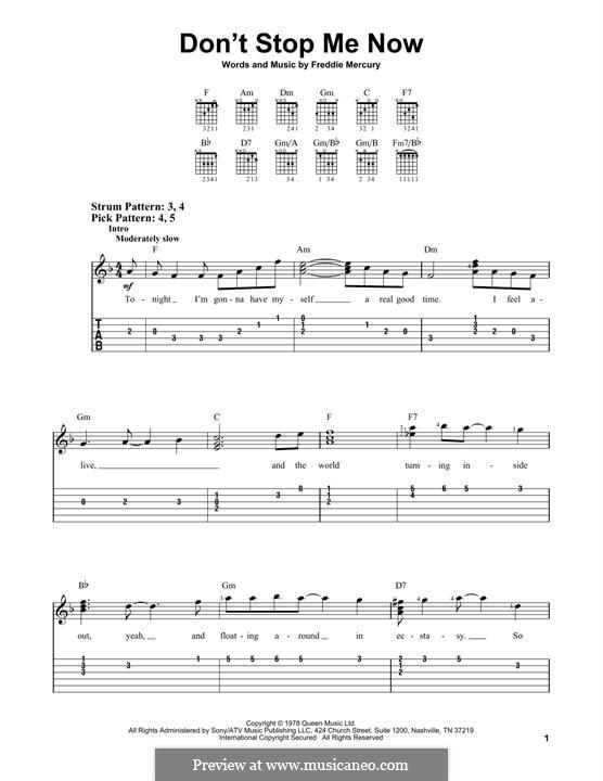Don't Stop Me Now (Queen): Гитарная табулатура by Freddie Mercury