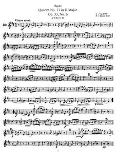 Струнный квартет No.33 ре мажор, Hob.III/42 Op.33 No.6: Партия второй скрипки by Йозеф Гайдн