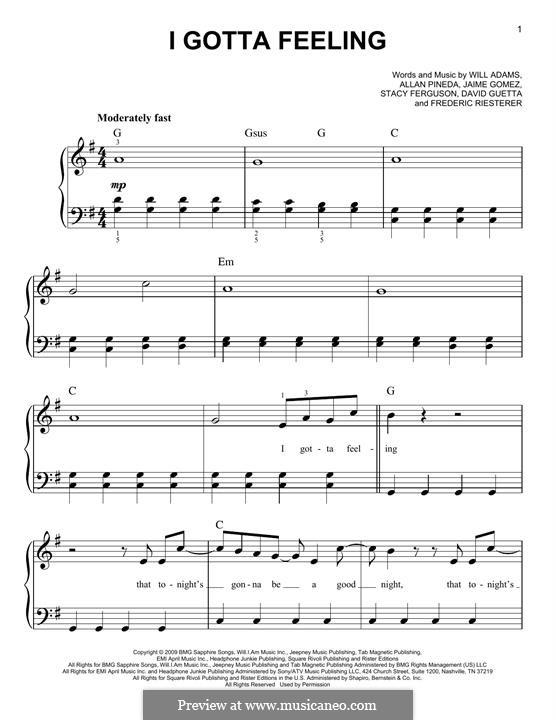 I Gotta Feeling (The Black Eyed Peas): Для фортепиано by apl.de.ap, David Guetta, Frédéric Riesterer, Jaime Gomez, Stacy Ferguson, will.i.am