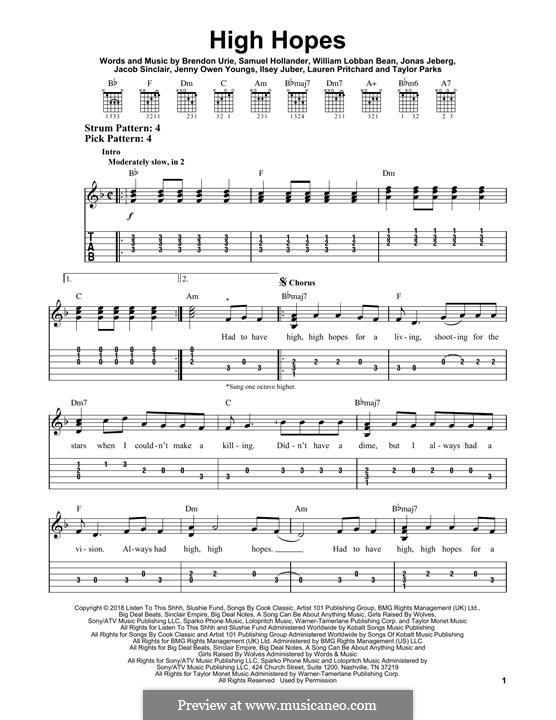 High Hopes (Panic! At The Disco): Гитарная табулатура by Brendon Urie, Jonas Jeberg, Sam Hollander, Jacob Sinclair, William Lobban-Bean