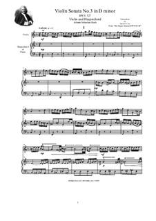Трио-соната для органа No.3 ре минор, BWV 527: Version for violin and harpsichord (or piano) by Иоганн Себастьян Бах