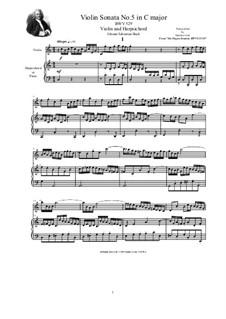 Трио-соната для органа No.5 до мажор, BWV 529: Version for violin and harpsichord (or piano) by Иоганн Себастьян Бах