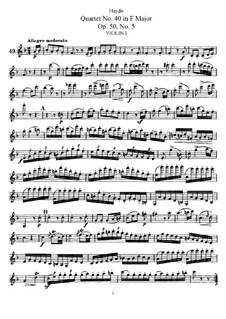 Струнный квартет No.40 фа мажор, Hob.III/48 Op.50 No.5: Партия первой скрипки by Йозеф Гайдн