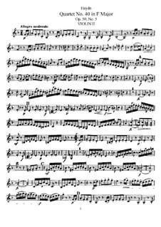 Струнный квартет No.40 фа мажор, Hob.III/48 Op.50 No.5: Партия второй скрипки by Йозеф Гайдн