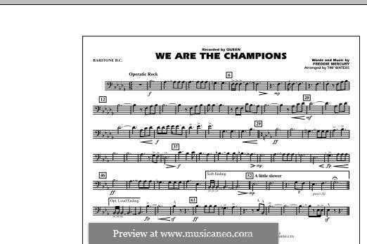 We are the Champions (Queen): Baritone B.C. part (by Tim Waters) by Freddie Mercury