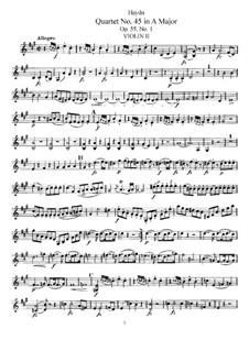 Струнный квартет No.45 ля мажор, Hob.III/60 Op.55 No.1: Партия второй скрипки by Йозеф Гайдн