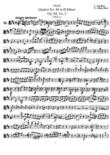 Струнный квартет No.49 си минор, Hob.III/68 Op.64 No.2: Партия альта by Йозеф Гайдн