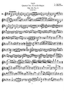 Струнный квартет No.52 ми-бемоль мажор, Hob.III/64 Op.64 No.6: Партия первой скрипки by Йозеф Гайдн