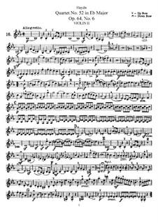 Струнный квартет No.52 ми-бемоль мажор, Hob.III/64 Op.64 No.6: Партия второй скрипки by Йозеф Гайдн