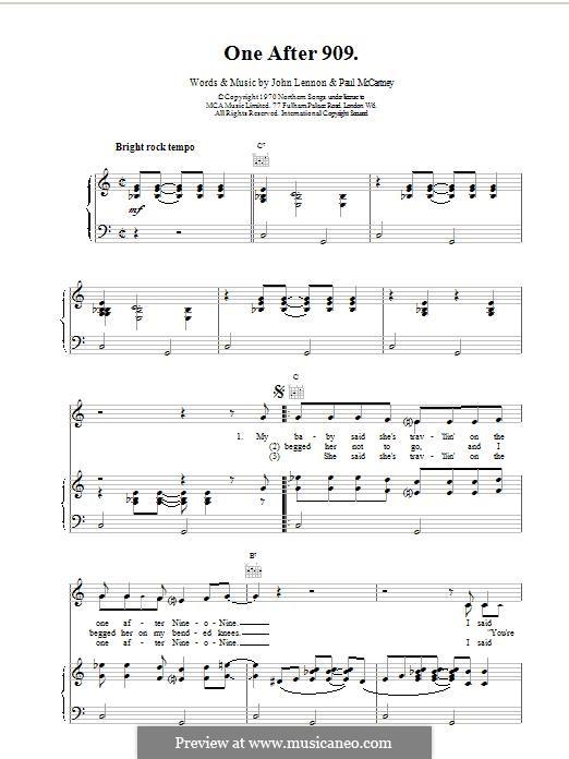One After 909 (The Beatles): Для голоса и фортепиано (или гитары) by John Lennon, Paul McCartney
