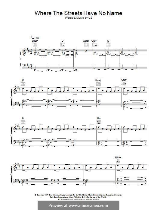 Where the Streets Have no Name: Для голоса и фортепиано (или гитары) by U2