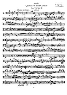 Струнный квартет No.57 до мажор, Hob.III/72 Op.74 No.1: Партия альта by Йозеф Гайдн