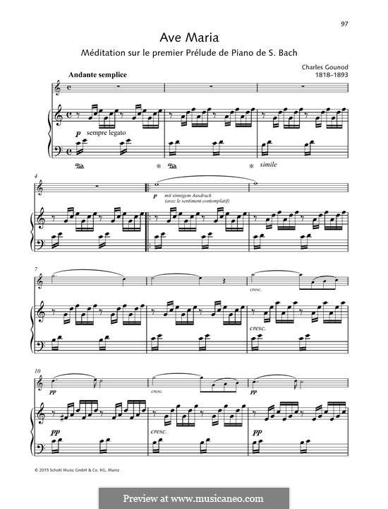 Ave Maria (Printable Sheet Music): Для скрипки и фортепиано by Иоганн Себастьян Бах, Шарль Гуно