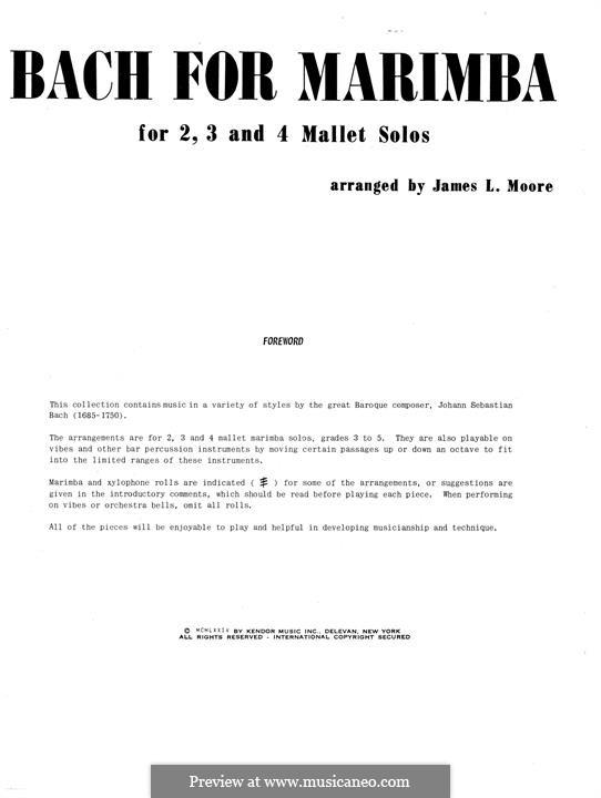 Bach for Marimba: Bach for Marimba by Иоганн Себастьян Бах