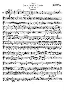 Струнный квартет No.60 соль мажор, Hob.III/75 Op.76 No.1: Партия второй скрипки by Йозеф Гайдн