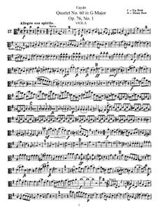 Струнный квартет No.60 соль мажор, Hob.III/75 Op.76 No.1: Партия альта by Йозеф Гайдн