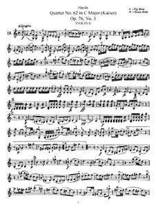 Струнный квартет No.62 до мажор 'Император', Hob.III/77 Op.76 No.3: Партия второй скрипки by Йозеф Гайдн