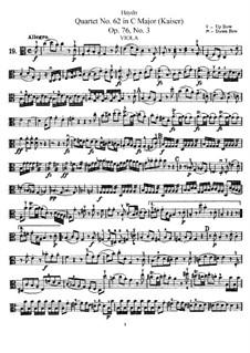 Струнный квартет No.62 до мажор 'Император', Hob.III/77 Op.76 No.3: Партия альта by Йозеф Гайдн