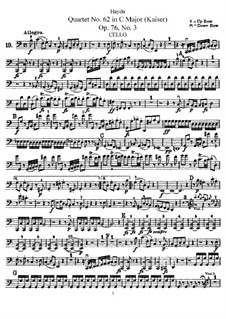 Струнный квартет No.62 до мажор 'Император', Hob.III/77 Op.76 No.3: Партия виолончели by Йозеф Гайдн