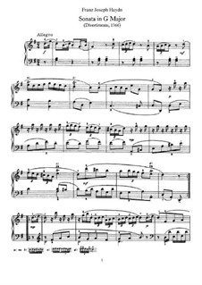 Соната для фортепиано No.1 соль мажор, Hob.XVI/8: Для одного исполнителя by Йозеф Гайдн